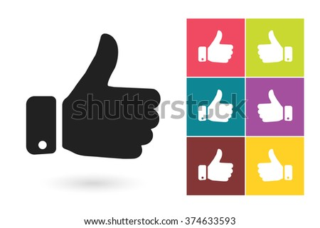 Set of thumb up icons, symbol for logo or label. Vector illustration - stock vector