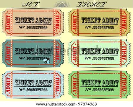 Set of tickets of various colors. EPS 10 - stock vector