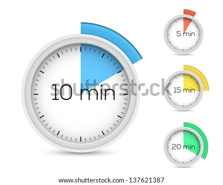 Set of timers. 5, 10, 15, 20 minutes. Vector illustration. - stock vector