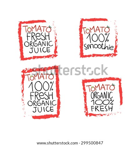 Set of tomato labels and symbols in vector, fresh and organic mix - stock vector