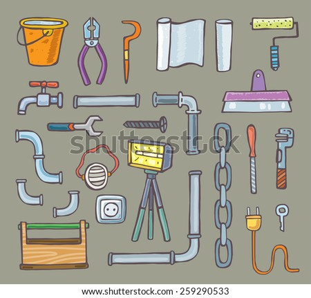 set of tools. cartoon vector. isolated - stock vector