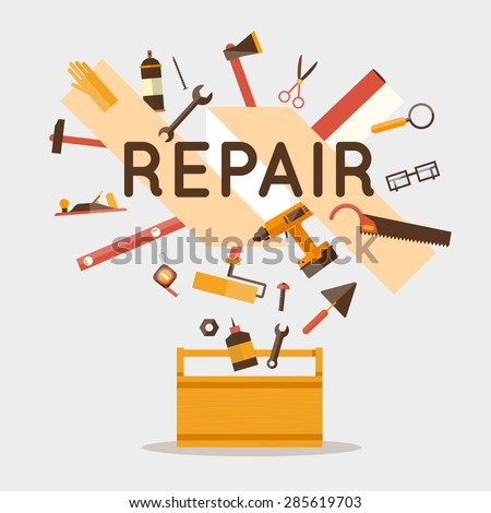 Set of tools for the repair. Flat design vector illustration. - stock vector