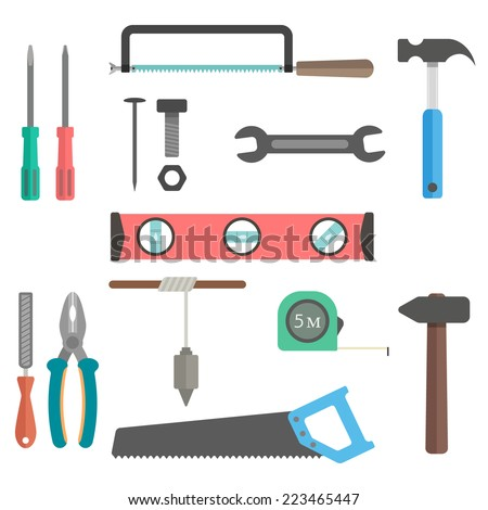 set of tools on white background. flat design modern vector illustration - stock vector