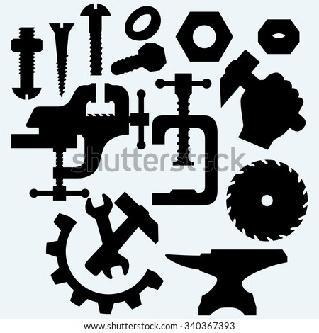 Set of tools: vice, spanner, hammer, Circular saw blade, anvil and screws. Isolated on blue background. Vector silhouettes - stock vector