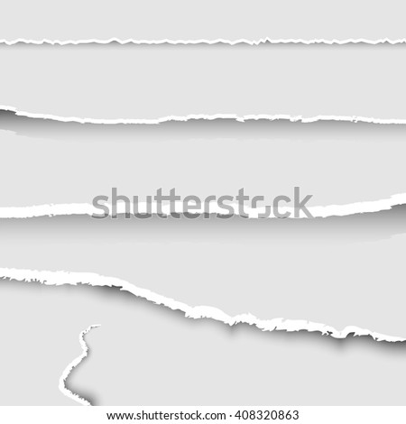 Set of torn paper, collection of pieces of torn paper with ripped edges and shadows, torn paper banners set, background, vector - stock vector