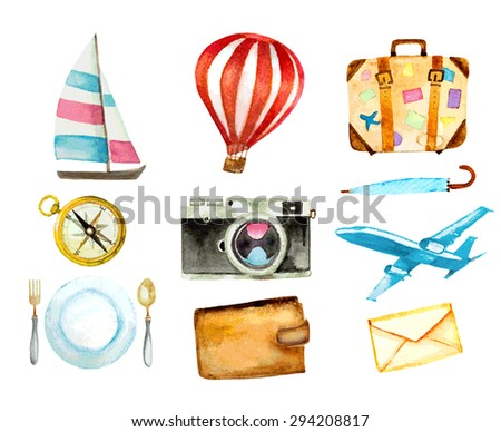set of tourism icons. watercolor hand drawn vector illustration. sailboat, hot air balloon, luggage, umbrella, airplane, camera, compass, mail, wallet and food symbols - stock vector