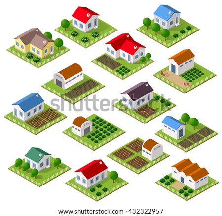 Set of townhouses and rural houses with trees in an isometric view and a garden - stock vector