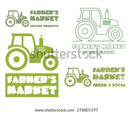 Set of Tractor logo design template. harvest or farm icon. Thin line, silhouette design. Organic farmer.'s market. Eco theme. Vector illustration - stock vector