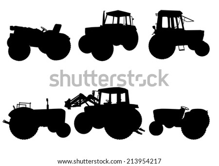 Set of tractor silhouettes on white background, vector illustration - stock vector