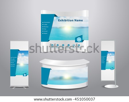 Set of trade exhibition stand with cover presentation abstract geometric background, With blue sea and clouds on sky background, Vector illustration modern design layout template - stock vector