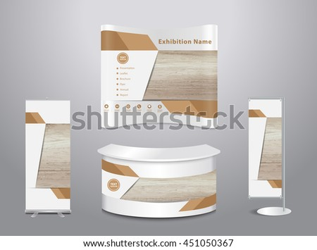 Set of trade exhibition stand with cover presentation abstract geometric background, With texture of wood background, vector illustration ( Image trace of wooden background ) - stock vector