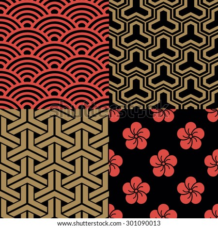Set of traditional Japanese Patterns - stock vector