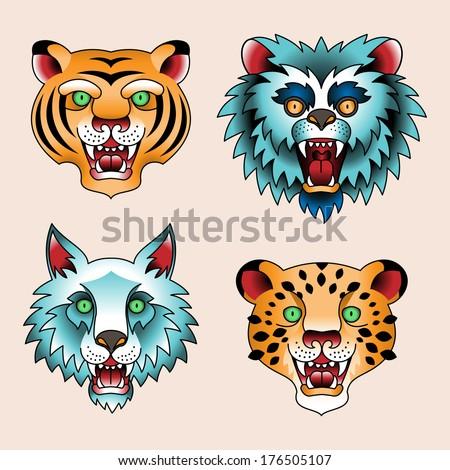Set of traditional tattoo heads of predatory animals - stock vector