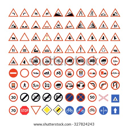 Set of traffic signs - stock vector