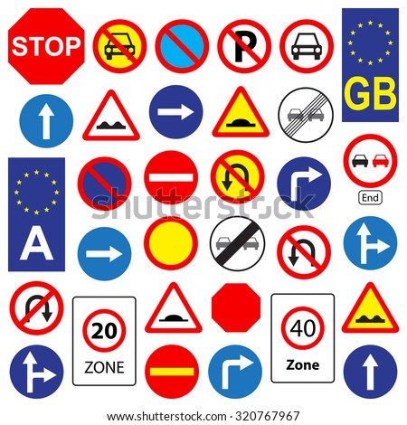 Set of traffic signs, isolated on white background, vector illustration. - stock vector