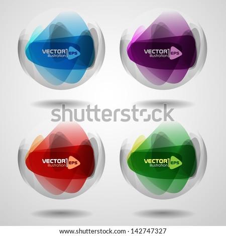 Set of translucent crystal ball. Vector illustration. Eps 10. - stock vector