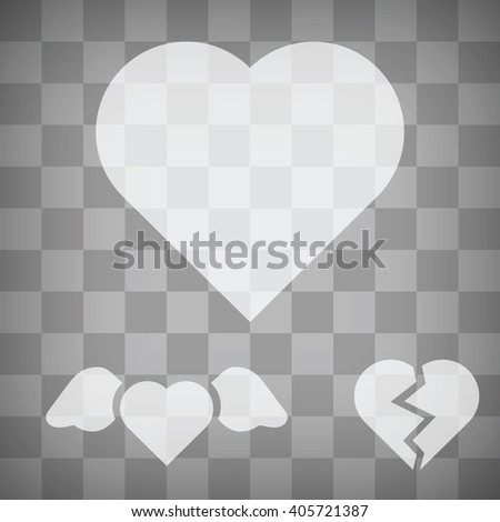 Set of transparency white heart icons, simple heart, heart with wings, broken heart. Love symbols. Heart vector icon for postcard, websites, mobile, t-shirt print.  Flat minimalistic design. - stock vector