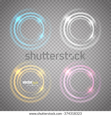 Set of transparent circle glow banners. Vector eps10 - stock vector