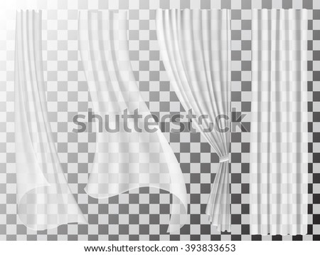 Set of transparent curtains different forms. Waving in the wind and hanging curtains for the window decoration. - stock vector