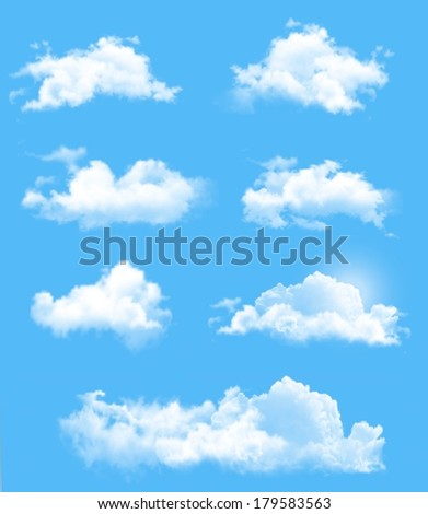Set of transparent different clouds. Vector. - stock vector