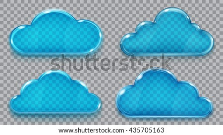 Set of transparent glass clouds in blue colors. Transparency only in vector format. Can be used with any background - stock vector