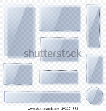 Set of transparent glass plates of different shapes in light blue colors with shadows. Transparency only in vector format - stock vector
