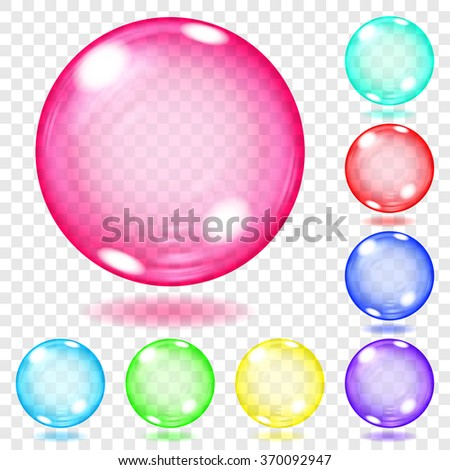 Set of transparent glass spheres of various colors with glares and shadows. Transparency only in vector file - stock vector