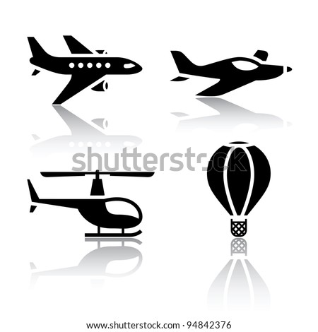 Set of transport icons - airplane and helicopter as well as the balloon symbols - stock vector