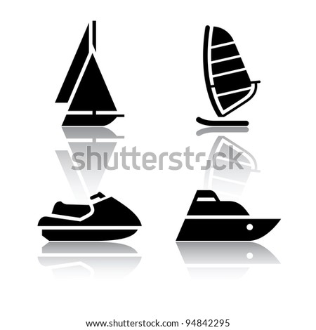 Set of transport icons - boat and sailfish symbols - stock vector