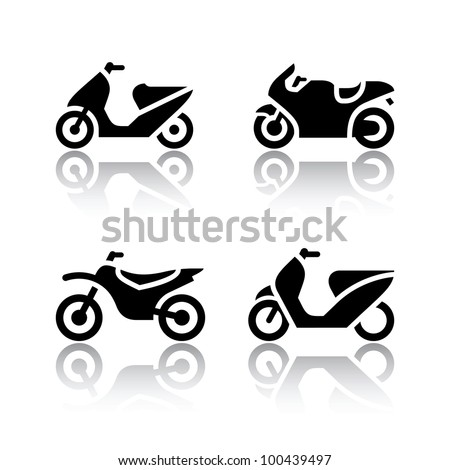 Set of transport icons - motorcycles - stock vector
