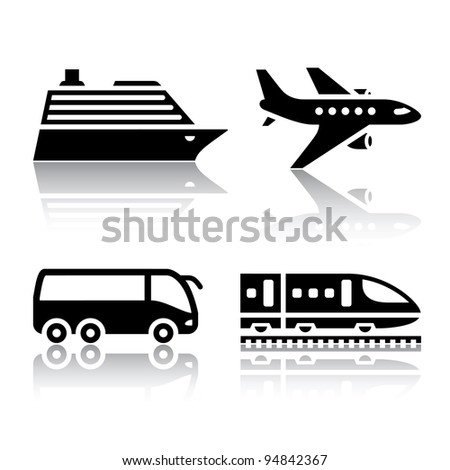 Set of transport icons - tourist transport - stock vector
