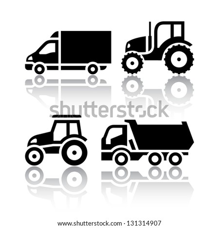Set of transport icons - Tractor and Tipper, vector illustration - stock vector