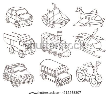 set of transport icons (vector illustration for coloring book) - stock vector