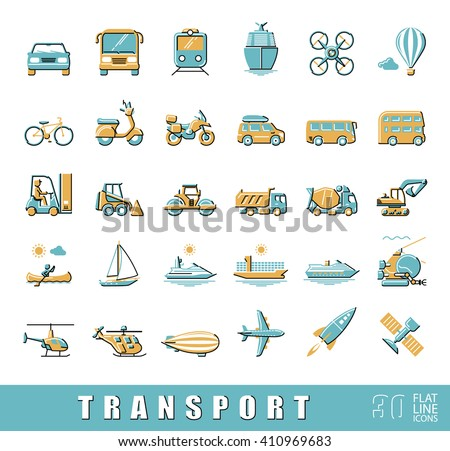 Set of transportation icons.  Various means of transportation road, rail, air, water transport. Various types of  vehicles. Collection of flat line vector icons.  - stock vector