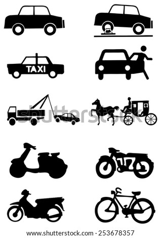 Set of transportation vector icon.  - stock vector