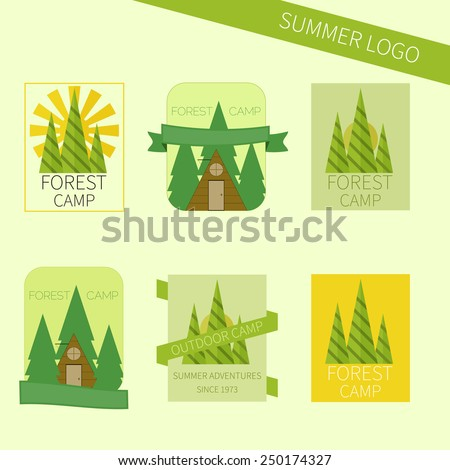 Set of travel and camping logo. Outdoor emblems. Tourism icons. Vector illustration - stock vector