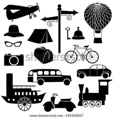 Set of travel icons. - stock vector
