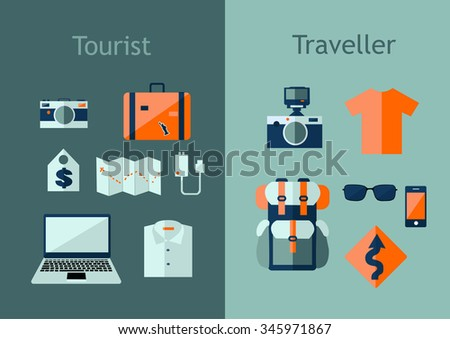 Set of travel icons in flat style. Travel plan concept. Vector illustration with design elements and symbols: backpack, map, camera, laptop. - stock vector
