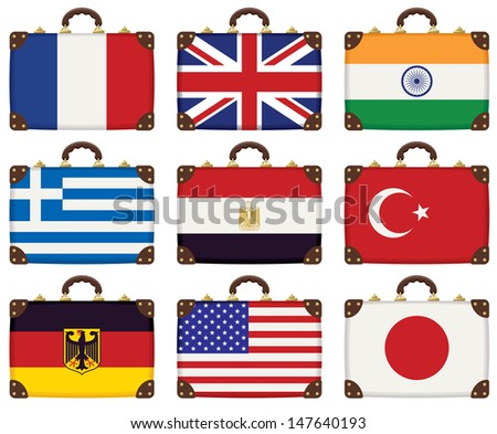 set of travel luggage with flags of different countries - stock vector