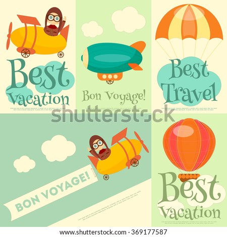Set of Travel Posters with Air Vehicles. Airman in Uniform. Cartoon Style. Vector Illustration. - stock vector