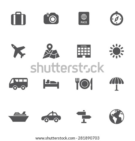 Set of travel vector icons - stock vector