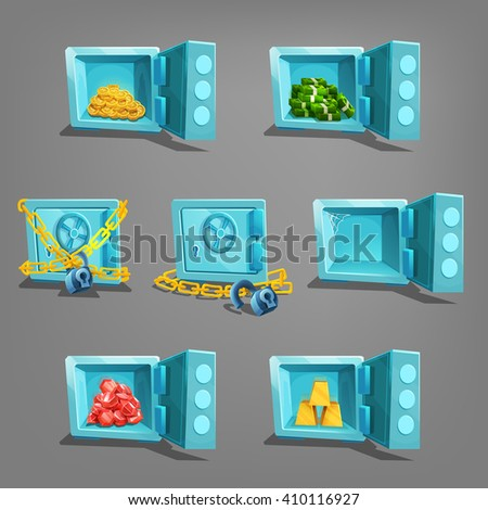 Set of  treasure in safe. Golden coins, golden bars, gems and dollars. Vector illustration. - stock vector
