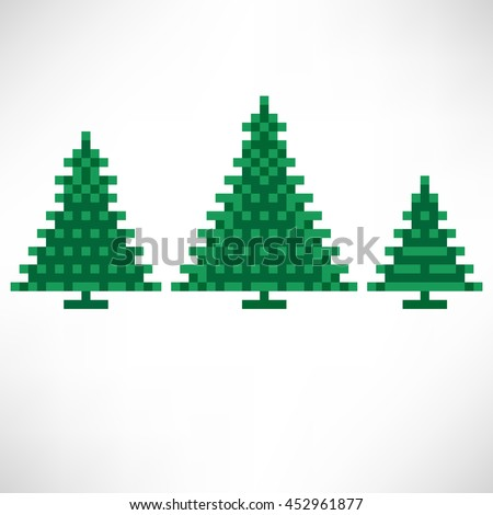 Set of Tree abstract isolated on a white background. Vector illustration in the style of old-school pixel art. - stock vector