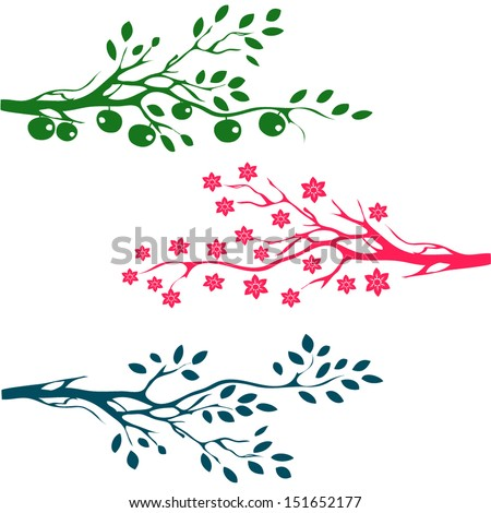 set of Tree and branch Silhouettes. Apples on tree branch  - stock vector