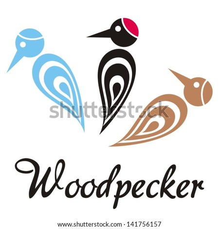 Set of tree colorful stylized woodpecker icons with text - stock vector