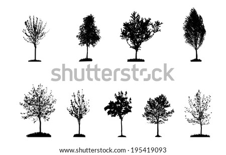 Set of Tree Silhouette Isolated on White Backgorund. Vecrtor Illustration. - stock vector