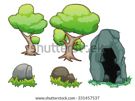 set of tree, stone and cave stone isolated on white - stock vector