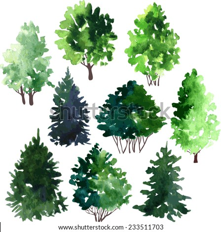 set of trees drawing by watercolor, hand drawn vector illustration - stock vector