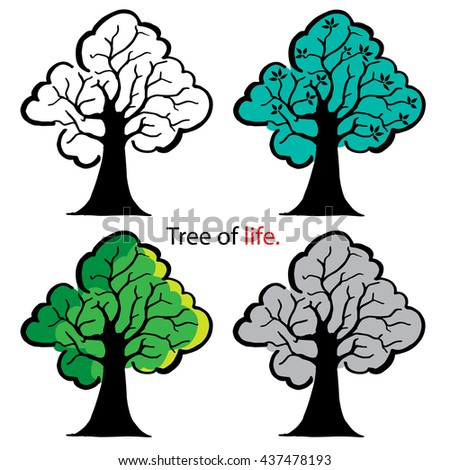 Set of trees. Natural illustration. - stock vector