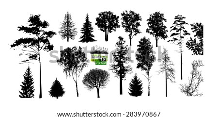 Set of trees silhouette. Vector - stock vector